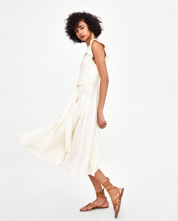 Elegant white linen maxi woman dress with bow