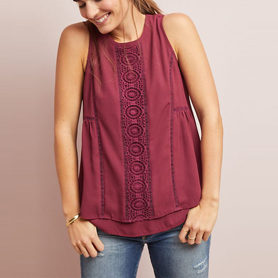 Women Red Sleeveless Top with Back zip