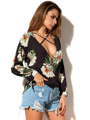 Women Low Neck Floral Chiffon Long Sleeve Top supplier