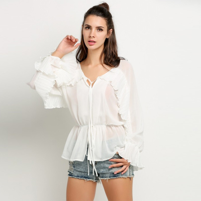 New Design Women Bat wing Long Sleeve Elastic Waist Ruffles Sheer Blouse Tops
