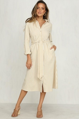 2018 Women Clothing Striped Casual Office Dress