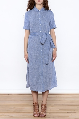 Women Casual Button Down Solid Midi Linen Dresses ladies supplier