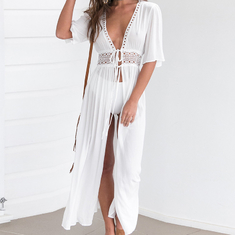 Wholesale Solid Color White Deep V Neck Half Sleeve Beach Cover Up Sexy Maxi Dress Beach Tunic With Slit supplier