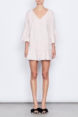 Women Fashion Plus Size Elbow Bell Sleeve Linen Bow Tie Mini Dress for Women supplier