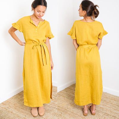 Paloma Mustard Short Sleeve Button Down Slit Maxi Linen Dress