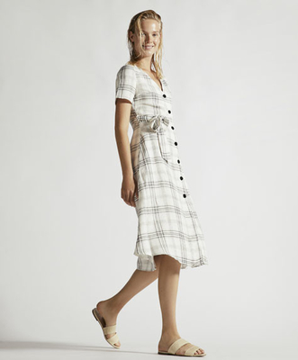 Summer Clothing Women V Neck Midi Checked Linen Dress