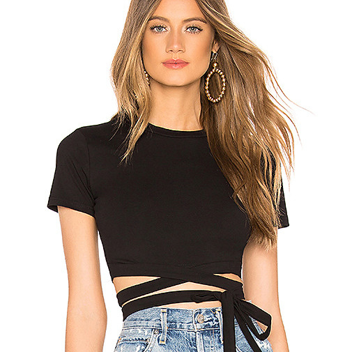 2019 Women Newest Design Black Knit Top Blouse