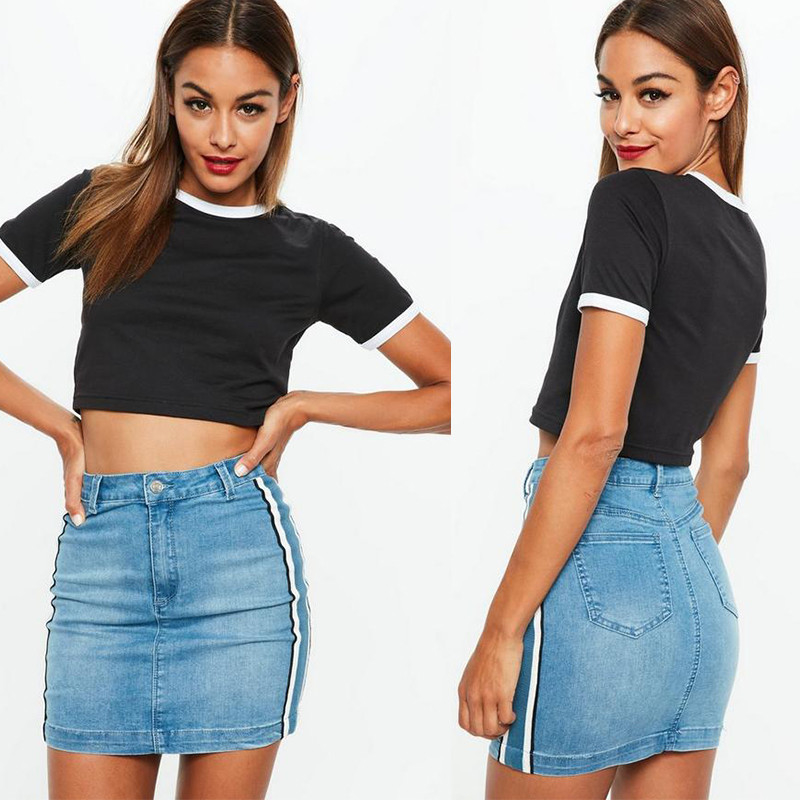Clothing Black Ringer Short Sleeve Crop Top Women