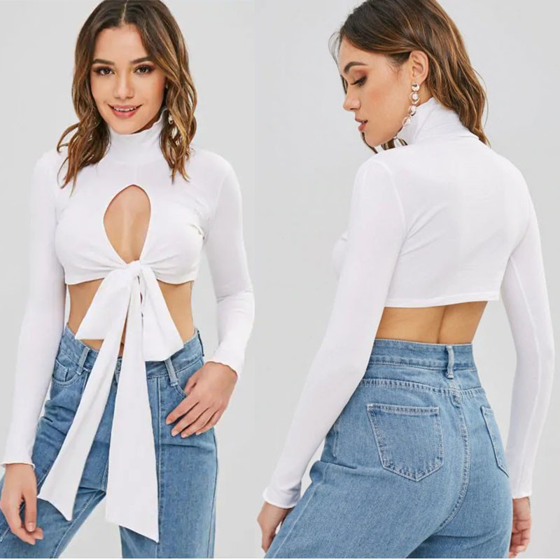 Fitness Clothing Women Cutout Turtleneck Tie Crop Top