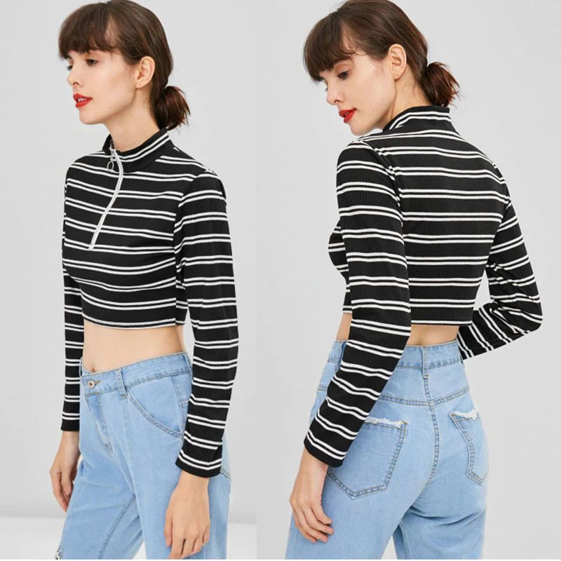 Trendy Women Clothing Stripe Long Sleeve O Ring Zip Crop Tee Top
