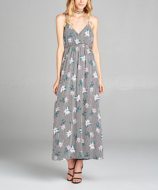Chinese Clothing Manufacturers Black Stripe Sexy Maxi Dress Floral Ladies