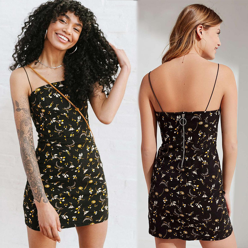 2018  Adjustable Spaghetti Strap Floral Print Vacation Dress Bodycon Mini Dress Hot Summer
