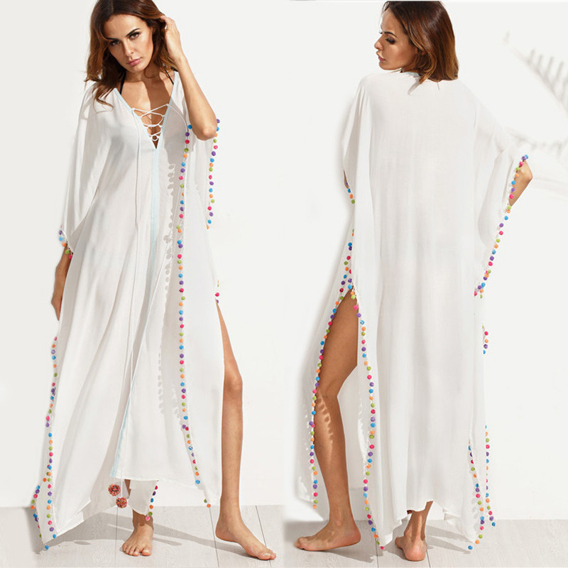 Bohemian White Lace-up Long Summer Beach Cover Up Dress with Split