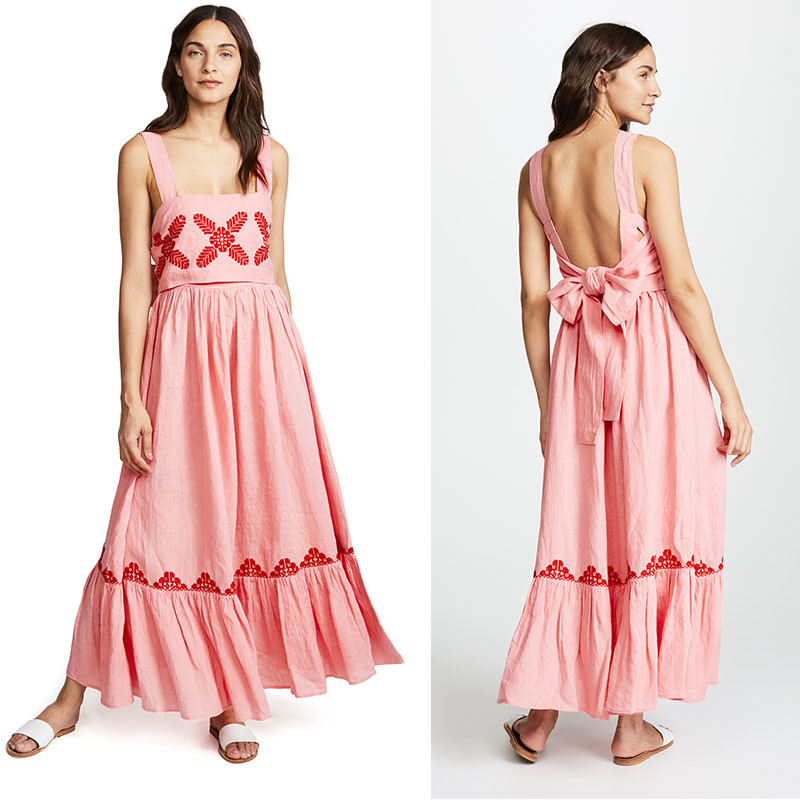 2018 Pink Linen Embroidery Women Maxi Dress Summer