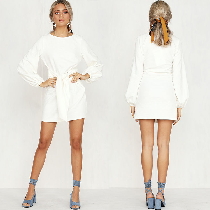 Women Apparel Summer White Puff Sleeve Mini Dress
