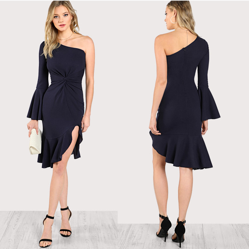 summer one shoulder women fashion dress