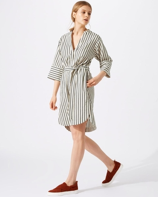 New Design Relaxed Fit Deep V-neckline Stripe Linen Dress for Woman