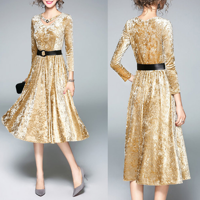 A-line Long Sleeve elegant office dresses for lady