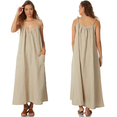 Women 100% Linen Old Fashion Maxi Dress